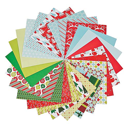 Fun Express - Christmas/Winter Paper Pack for Christmas - Craft Supplies - Scrapbooking - Scrapbook Paper - Christmas - 50 Pieces