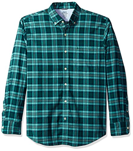 Bugs Long Sleeve Shirt (IZOD Men's Oxford Plaid Long Sleeve Shirt, June Bug, Small)
