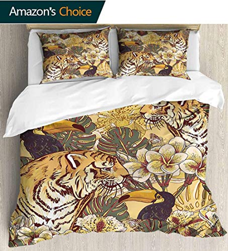 shirlyhome Tiger European Style Print Bed Set,Tropical Rendition of Symbol of Bengal and Toucan Lively Colors Harmonious Nature Bedding Sets,1 Duvet Cover,1 Pillowcase 79