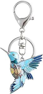 Luckeyui Cute Hummingbird Gift Keychains for Women Girls Blue Enamel Bird Keyring