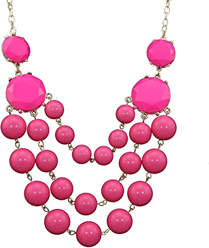 Pink Five Flower Statement Bib Bubble Necklace holiday gift Ship from US