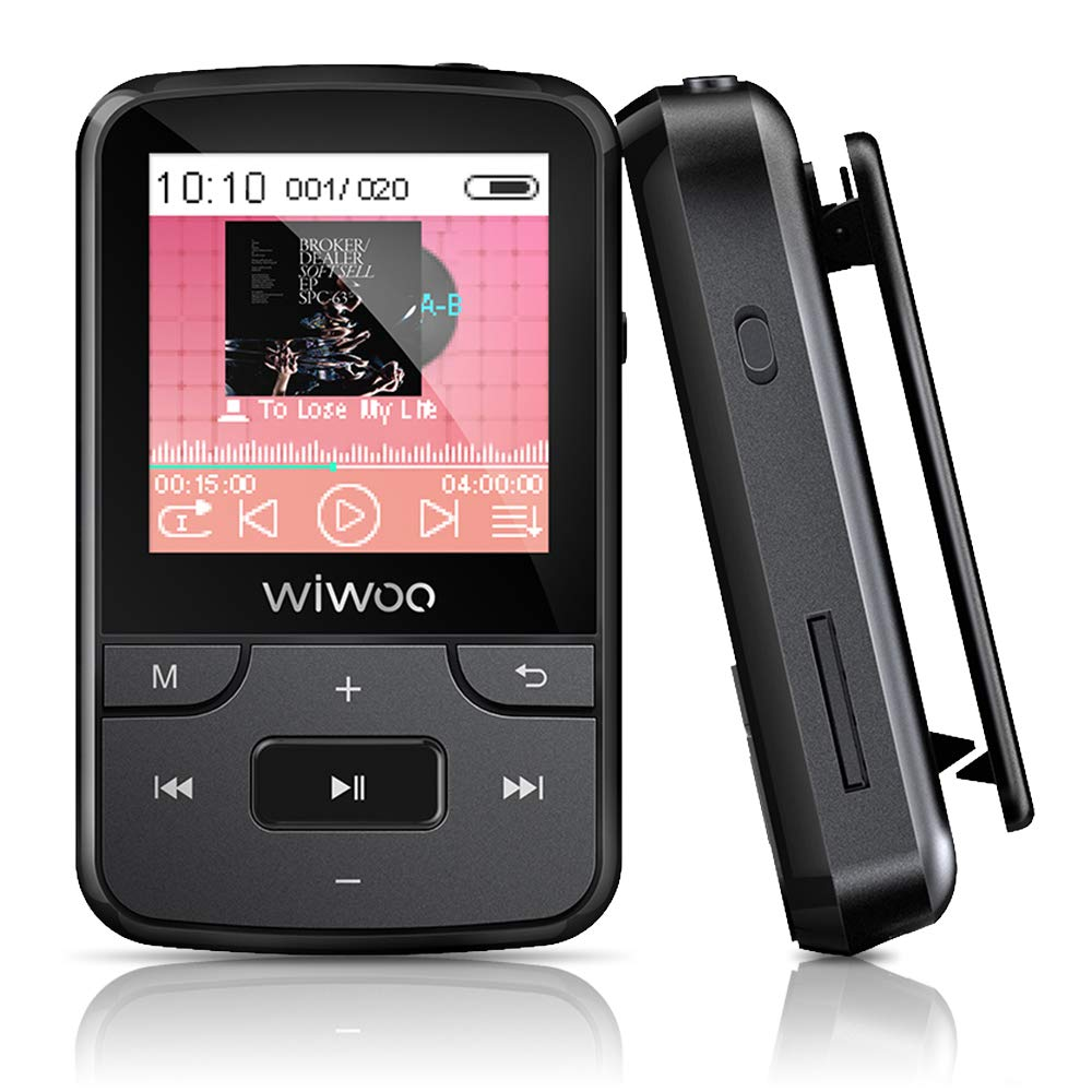 MP3 Player, Wiwoo 16GB Bluetooth MP3 Player with Clip FM Radio Voice Recorder Earphones, Running Portable Music Player Support up to 128GB (F3)