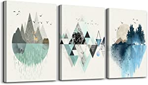 Abstract Mountain in Daytime Canvas Prints Wall Art Paintings Abstract Geometry Wall Artworks Pictures for Living Room Bedroom Decoration, 16x24 inch/piece, 3 Panels Home bathroom Wall decor posters