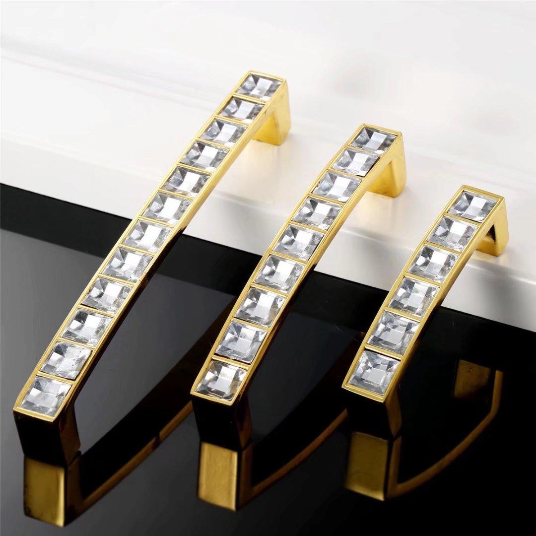 tiradores de diamante con base de aleaci/ón de zinc para el hogar FBSHOP Hole distance:128mm - 6 pomos de cristal para caj/ón y puerta cocina color dorado oficina TM armario caj/ón