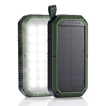 Batería Externa GrandBeing Cargador Solar 8000mAh con Lámpara Camping, Power Bank Impermeable (Triple Salida USB 5V 1A / 5V 2A, Entrada Micro USB 5V ...