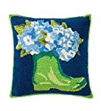Indoor/Outdoor Hooked Garden Boots and Hydrangeas Throw Pillow, 18 sq.