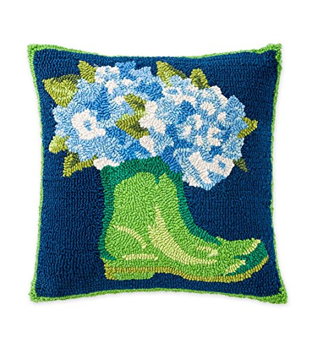 Indoor/Outdoor Hooked Garden Boots and Hydrangeas Throw Pillow, 18 sq. by Plow & Hearth