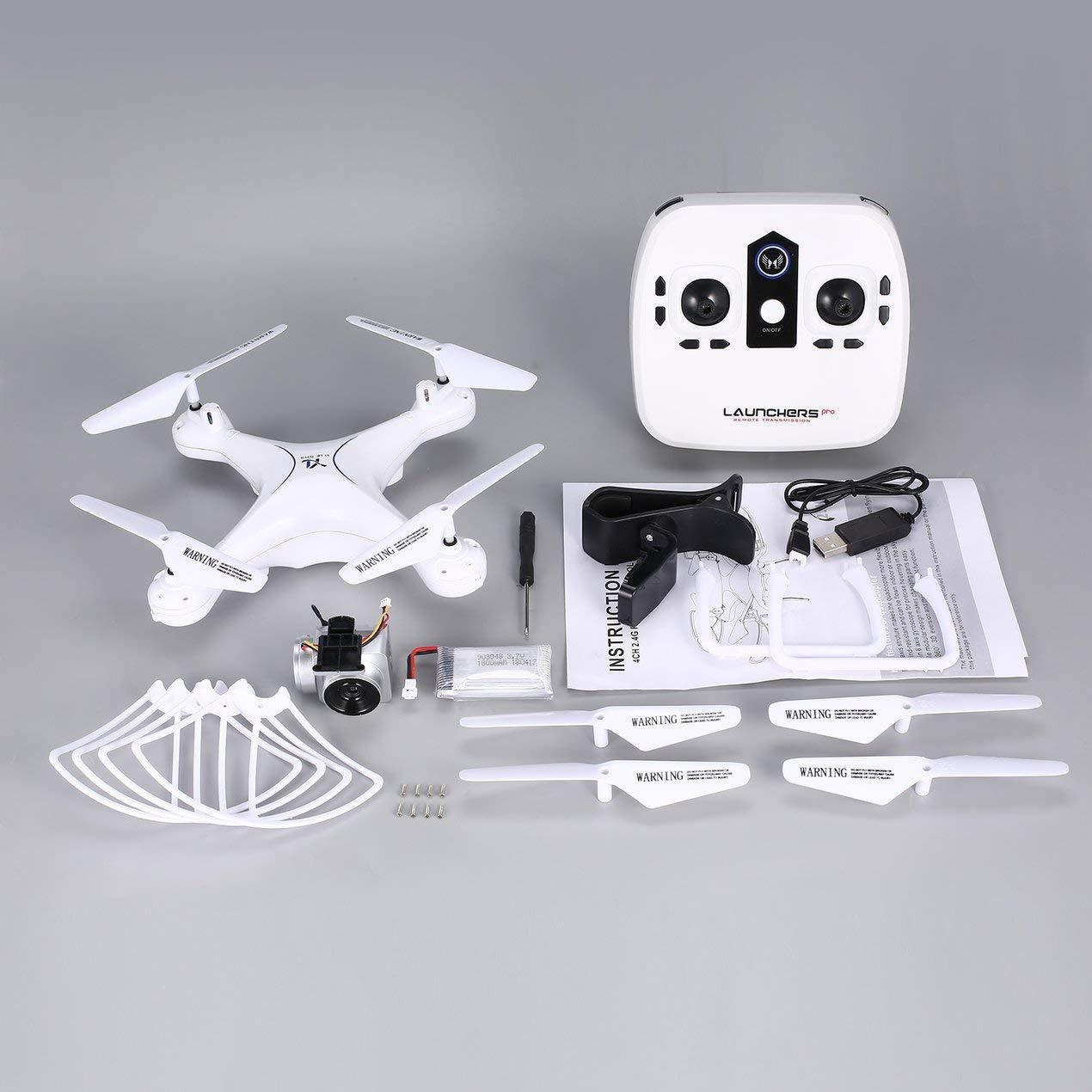 Dooret RC Drone Quadcopter, 2.4G 1080P HD WI Fi Kamera Selfie Quadcopter Flugzeuge mit Höhe Halten Kopflos Mode 3D Flip, weiß