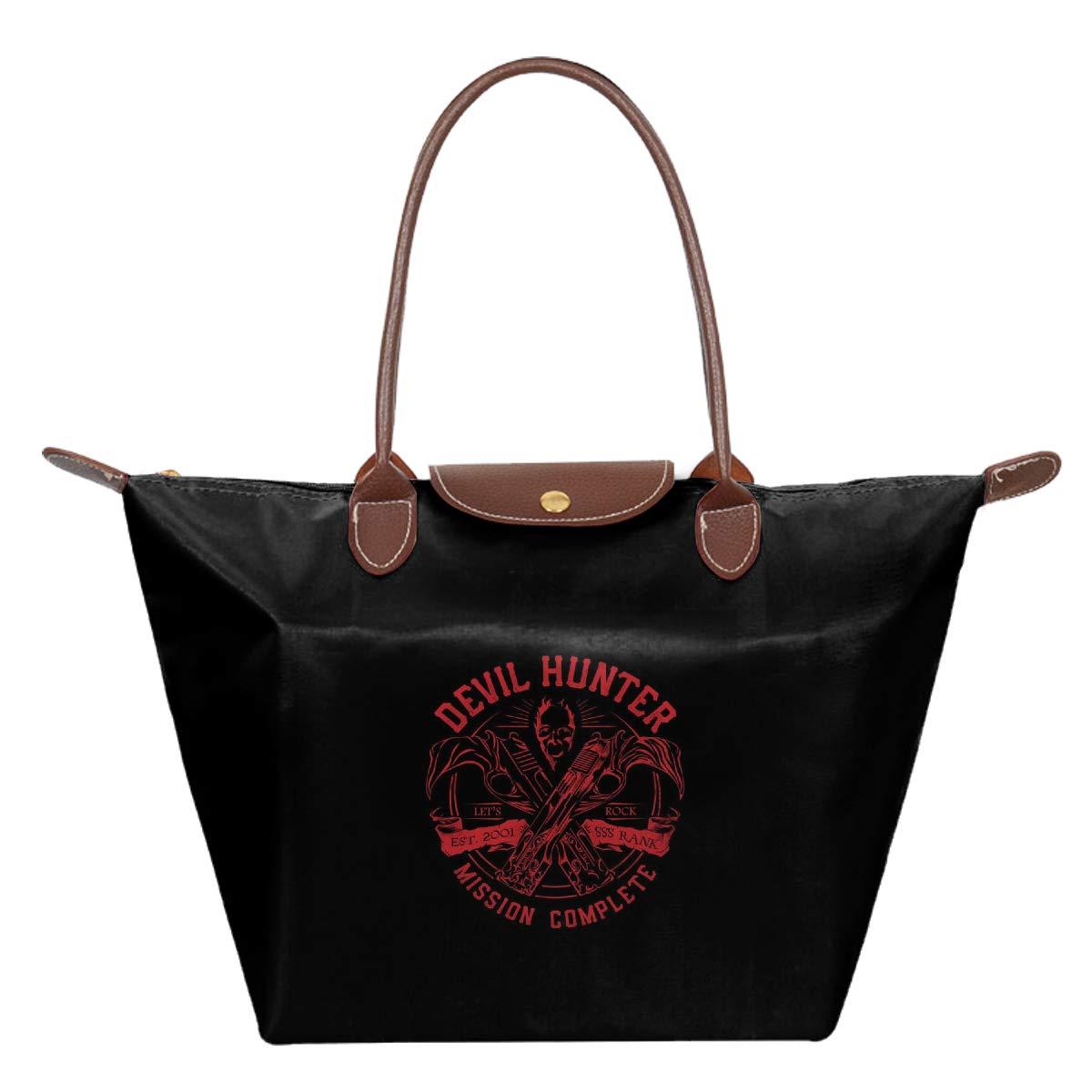 Devil Hunter Ebony And Ivory DMC Waterproof Leather Folded Messenger Nylon Bag Travel Tote Hopping Folding School Handbags