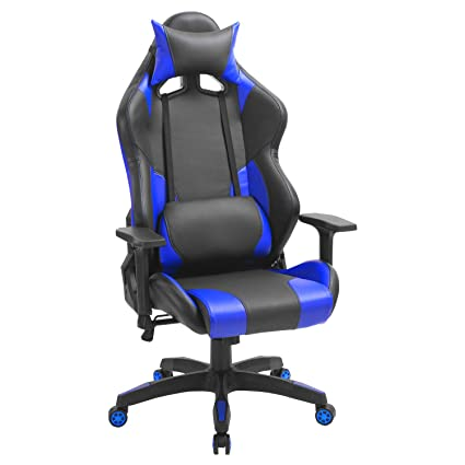 Computer Gaming Leather Chair, E-Sports Larger Size Ergonomic Swivel Racing Executive High Back Office Chair with 3D armrests- Adjustable Headrest and ...