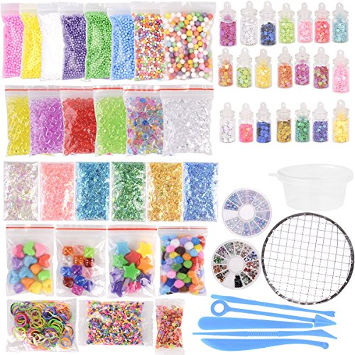 (72 Pack Supplies Kit for Slime, Including Foam Balls, Fishbowl Beads, Net, Glitter Jars, Pearls, Sugar Paper, Wooden Spoon, Storage Containers for Slime Making Craft)