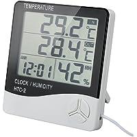 Thermomètre Intérieur Extérieur TH01S avec Sonde Hygromètre Horloge Digital Ércran LCD Affichage avec Température Humidité Date Idéal pour Maison Jardin Bureau Chambre Bébé - Câble 3m