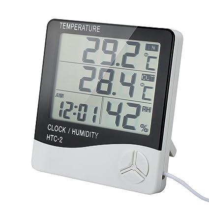 Thermometre Interieur Exterieur Th01s Avec Sonde Hygrometre Horloge Digital Ercran Lcd Affichage Avec Temperature Humidite Date Ideal Pour Maison