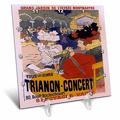 3dRose dc_149342_1 Vintage Grand Jardin Trianon Concert Advertising Poster Desk Clock, 6 x 6'
