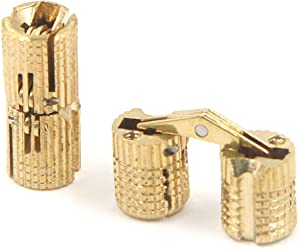 FarBoat 2Pcs Barrel Hinges Brass 8mm Cylindrical Gold-Plated Hidden Concealed Hinges Invisible 180 Degree for Furniture DIY Gift Jewelry Box Hand Craft Handicraft(8x19mm)