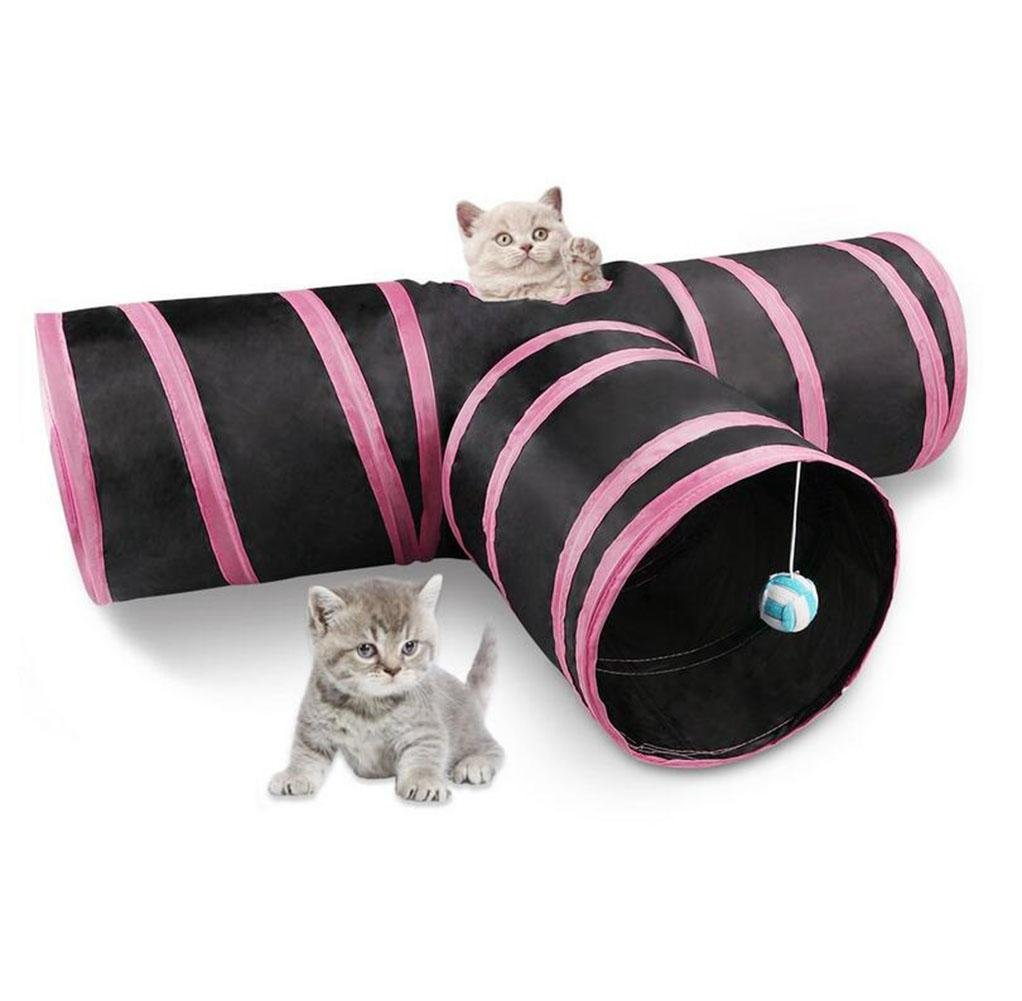 Powder Cat Tunnel Toy,3 Way Collapsible Pet Cat Play Tunnel with Ringing Ball,Spacious Tube Fun for Cat Puppy Kitten Pink and bluee, Powder