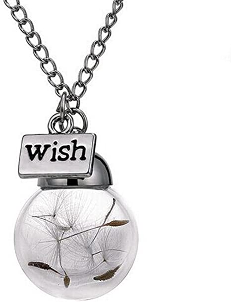 Elegant Wish Glass Dandelion Seeds in Glass Pendant Long Chain Necklace NEW