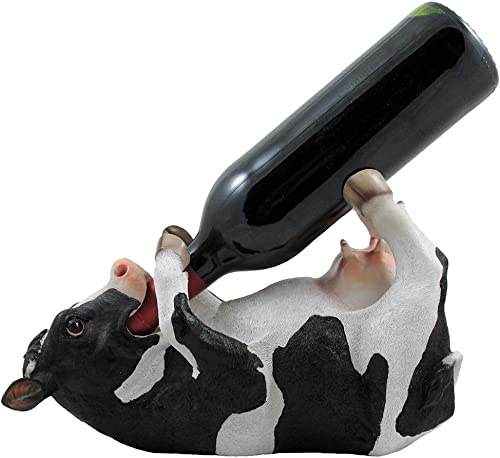 Drinking Cow Wine Bottle Holder Statue