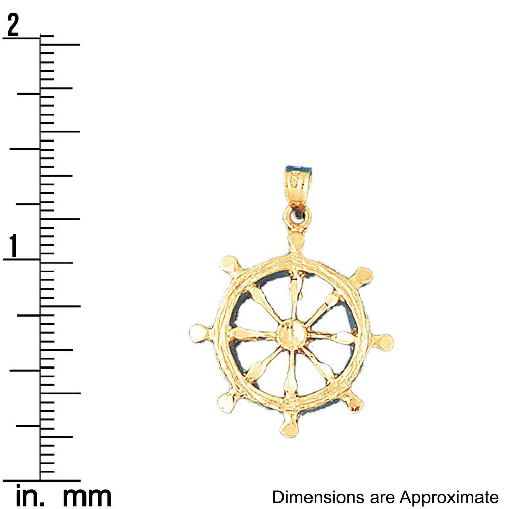 25mm x 31mm 14k Yellow Gold Ships Wheel Pendant