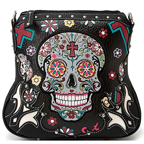 Sugar Skull Purse Cross Body Bag with Concealed Carry Pocket Black -