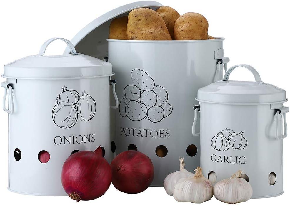 Verduras Acero Recipiente para Patatas 1 Cesta de Metal para Frutas ajo 23 x 23 x 27 G.a HOMEFAVOR Juego de 3