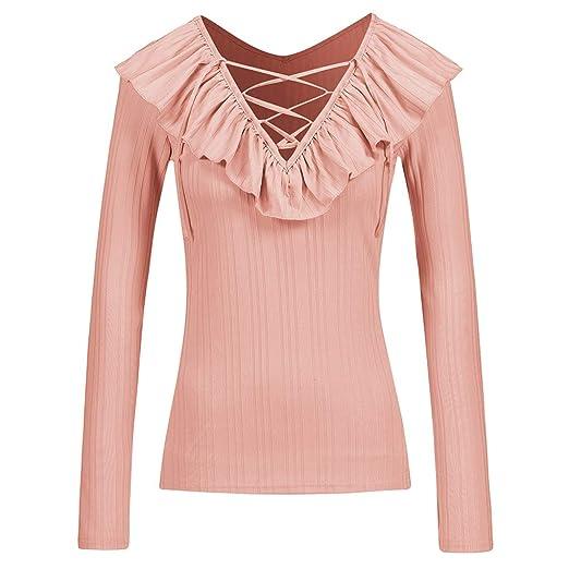 03d9883b73f3b1 AUWU Women Knit V-Neck Peplum Frill Long Sleeve Sexy T-Shirts Girl ...