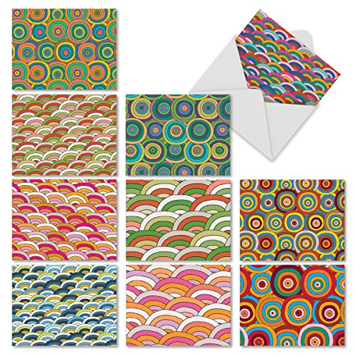 M6567OCB Over The Rainbow: 10 Assorted Blank All-Occasion Note Cards Featuring Multi Colored Concentric Circles and Arched Patterns, w/White - The Circle Arches