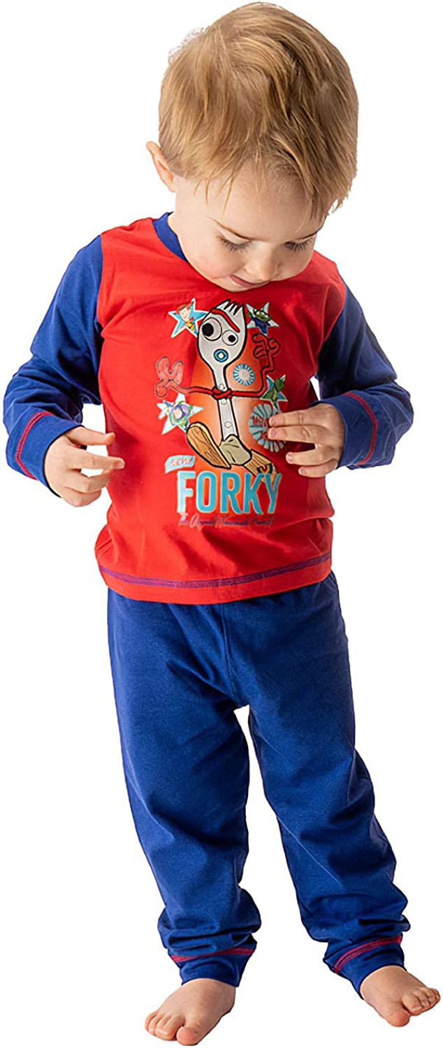 Buzz Lightyear 2 Piece PJ Set with Long Sleeve Top and Pajama Bottoms 100/% Cotton Nightwear for Kids Toy Story 4 Boys Pyjamas Featuring Forky with Woody Rex and Squeeze Toy Alien