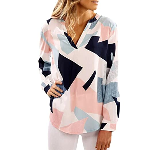42b01016542 E-Scenery Women s Casual Geometry Print Cotton V-Neck Long Sleeve Loose Blouse  Shirts Tunic Tops T-Shirt at Amazon Women s Clothing store