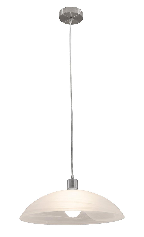 Lifestyle4living Deckenleuchte, Deckenlampe, Pendelleuchte, Wohnzimmerlampe, Küchenlampe, Esszimmerlampe, Lampe, Leuchte, Nickel, Glas, Alabaster
