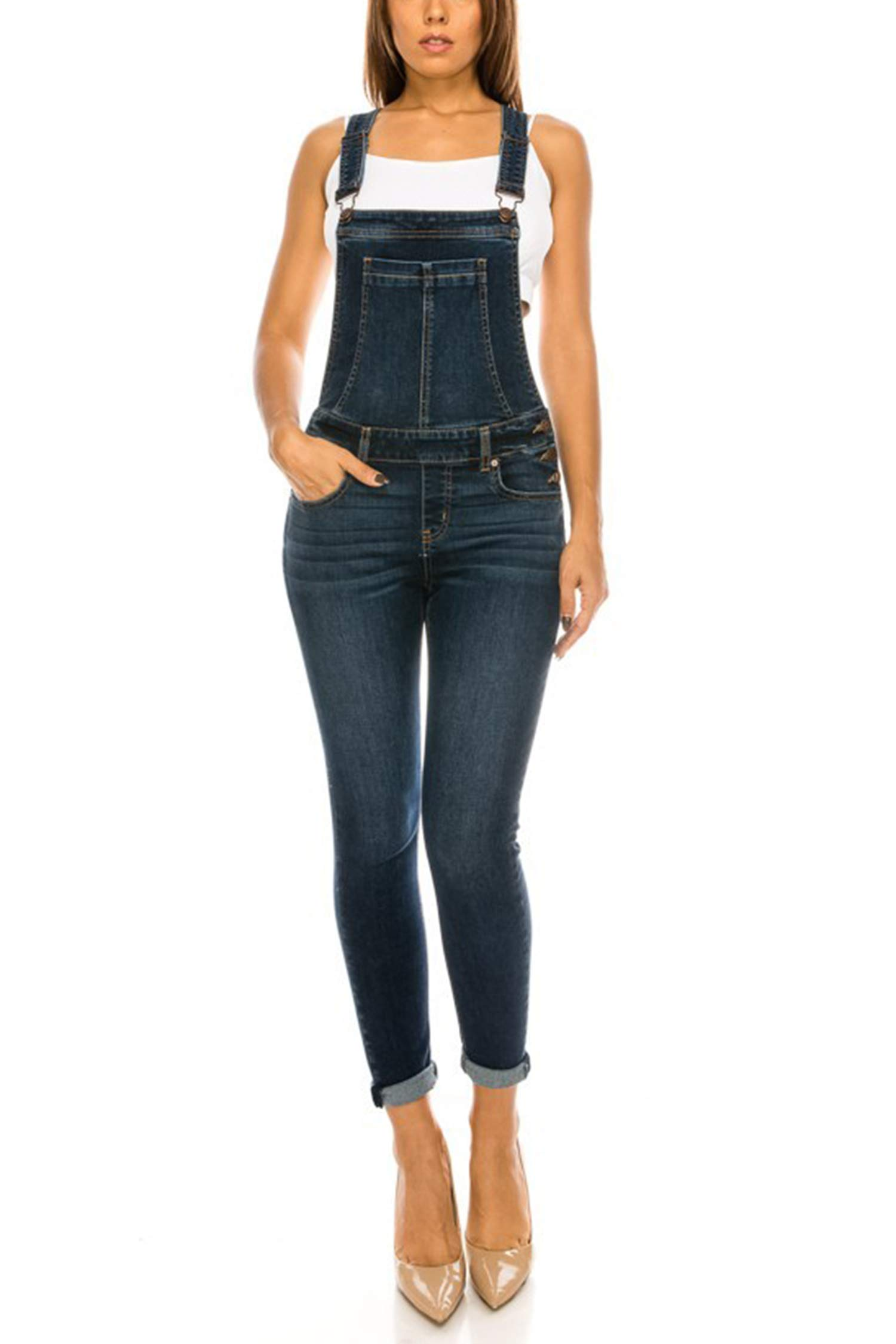 4b051a8762e4 Vialumi Women s Juniors Fitted Denim EnJean Overalls product image