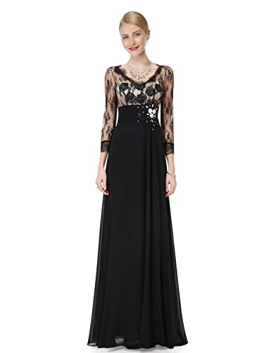 Ever Pretty 3/4 Sleeve Sheer Lace Rhinestone V-neck Evening Party Dress 09053