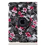 TOPCHANCES 360 Degrees Rotating PU Leather Case Smart Cover Stand for iPad mini mini2 mini3 with Stylus Pen Support Auto Wake & Sleep Function (Black Camellia)