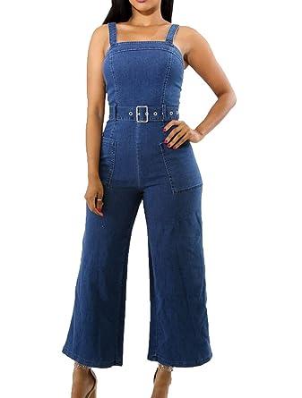 d8294ec704c Womens summer strap wide leg jeans denim jumpsuit rompers with belt clothing  jpg 337x445 Denim jumpsuits