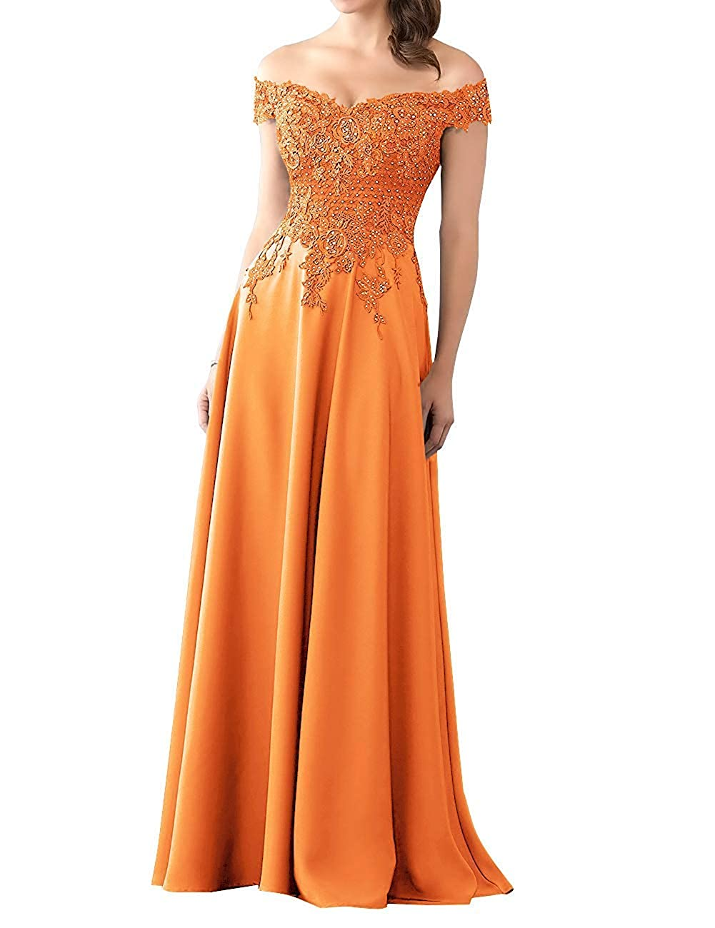 orange Mother of The Bride Dress with Sleeve Off Shoulder Long Beaded Mother Dresses Evening Gowns