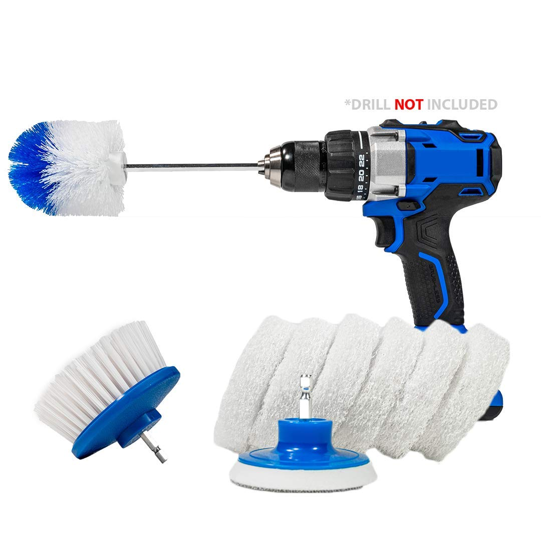 RotoScrub Boat Cleaning Drill Accessory Combo Kit - Includes 2 Drill Brushes and 6 Scrub Pads for Hulls and Decks of Fishing Boats, Kayaks, Canoes, Jet-Skis and Watercraft by RotoScrub