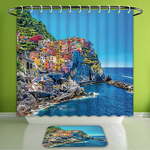(Waterproof Shower Curtain and Bath Rug Set Landscape Decor Seaside Houses On Hill Wall Blue Green Red Yellow Bath Curtain and Doormat Suit for Bathroom Extra Long Size 72