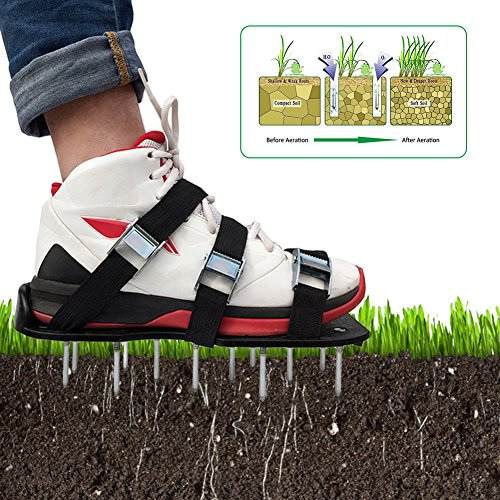Luerme Lawn Aerator Shoes Zinc Alloy Buckles and Adjustable Straps Heavy Duty Spiked Sandals Gardening Shoes for Aerating Your Lawn or Yard One Size Fits All (6 Straps, Black) by Luerme (Image #9)