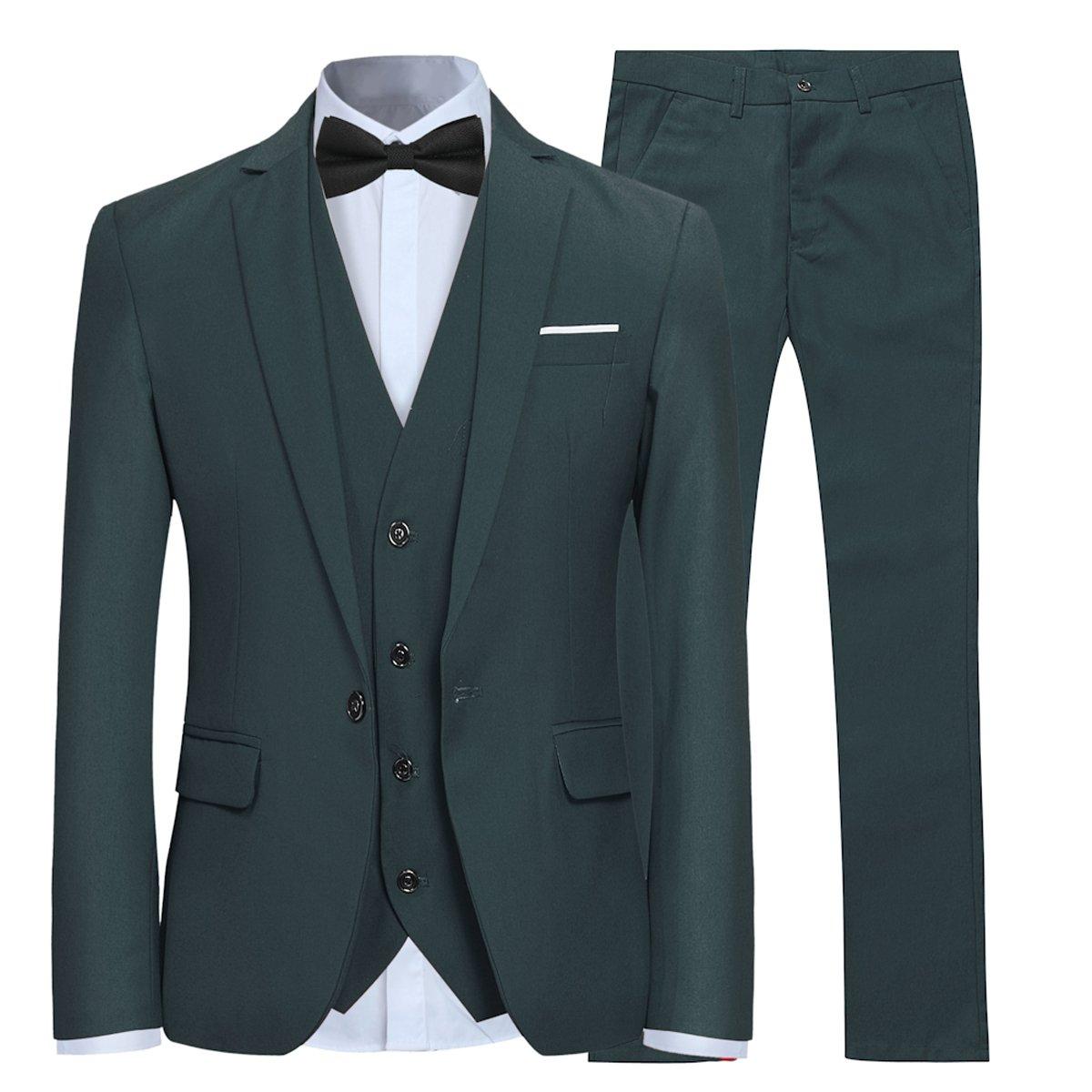 Men's Slim Fit 3 Piece Suit One Button Blazer Tux Vest & Trousers XY03