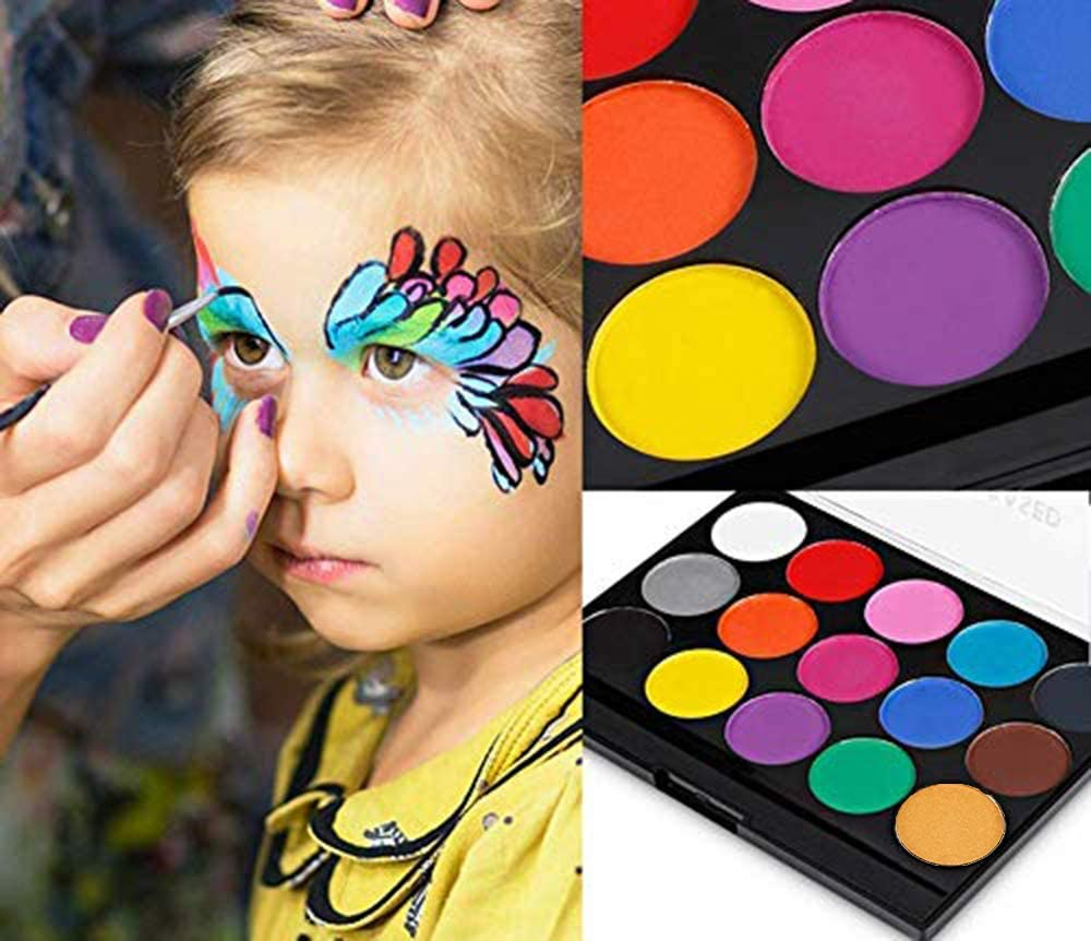 Face Painting Kits Professional Face Body Paint Ideal for Halloween Moosmooce 15 Colors Makeup Palette-Non Toxic Hypoallergenic Safe Facepaints for Adults and Kids 15 Colors