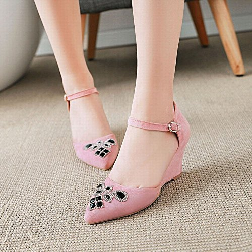 Mee Shoes Damen Keilabsatz Ankle Strap Strass Pumps Pink