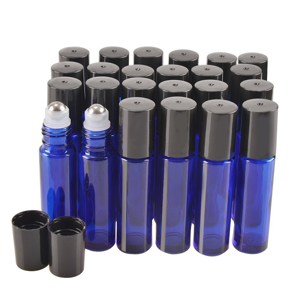 24 Pack,10 ml Blue Glass Roller Bottles with Removable Stainless Steel Roller Balls Perfect for Natural Essential Oils,Perfume and More Applications by CycleMore