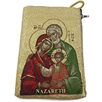 Holy Family Rosary Icon Pouch Tapestry Prayer Keepsake Holy Land Case 5.7
