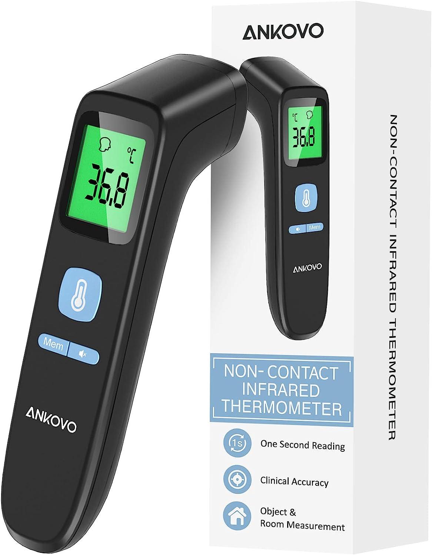 Termometro Infrarrojos para Adultos y Niños,Termómetro Digital Actualizado con Modo Frente y Objeto, Termómetro sin Contacto con Pantalla LCD, Función Memoria, Alarma de Fiebre