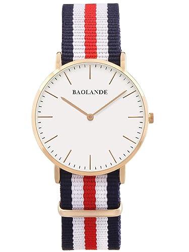 Alienwork Quarz Armbanduhr Zeitloses Design Uhr Damen Uhren Herren Ultra-flach Nylon rose gold blau ...