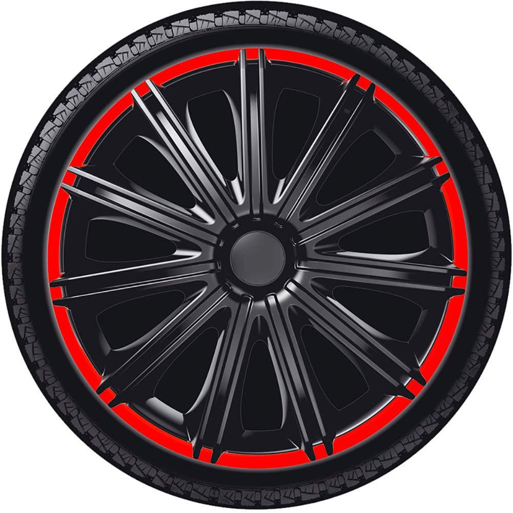 Autostyle PP 5115BR Satz Radzierblenden Nero R 15-Zoll Schwarz//Rot,