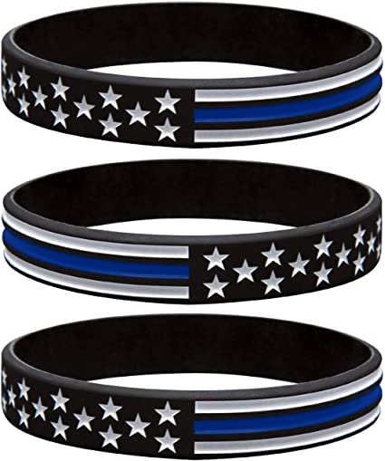 Bands For Events Silicone Thin Blue Line Bracelet Police Jewelry Fundraisers Support Gifts Blue Lives Matter Wristband Back The Blue Rubber Bracelet Men /& Women Awareness Causes