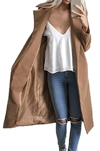 La Mujer Invierno Otoño Casual Classic Open Front Trench Coats Outerwear
