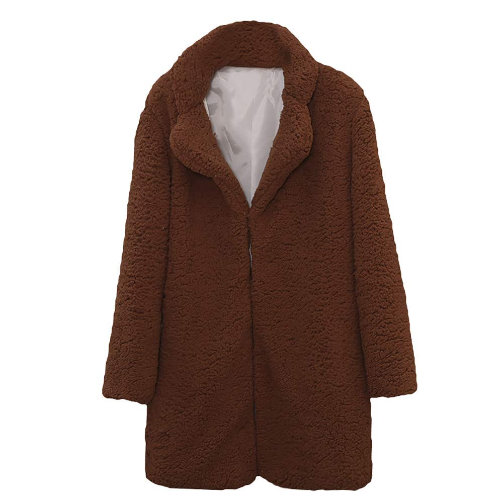 Liraly Cardigan Sweaters For Women New Fashion Women Casual Solid Color Notch Collar Autumn Winter Faux Fur Coat Outwear Blouse(Dark Brown ,US-8 /CN-L)