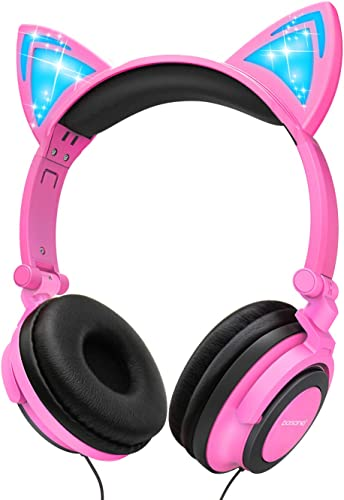 Cat Ear Headphones,barsone Kids Headphones Wired Foldable On Ear Headsets with LED Glowing Light 3.5mm Audio Jack Headset for Children Pink